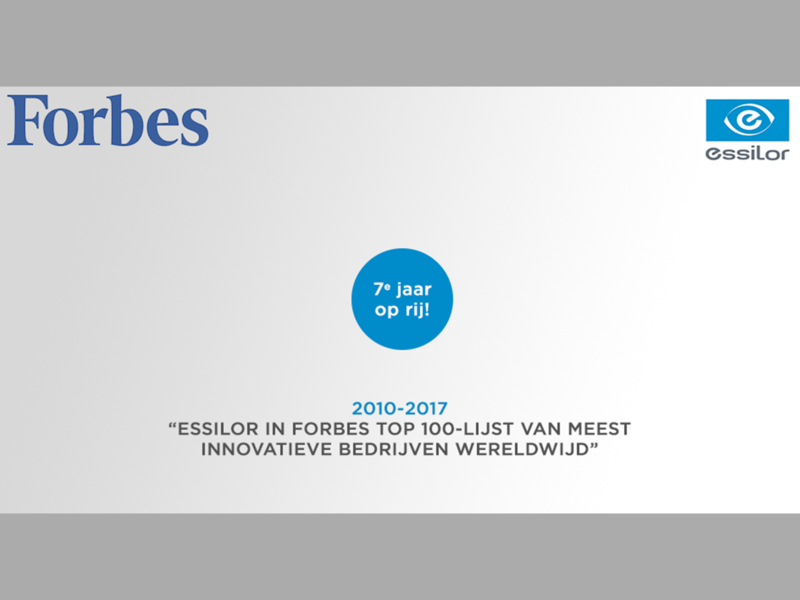 Essilor in Forbes top 100-lijst innovatie